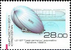Stamp: Graf Zeppelin's dirigible (Kyrgyzstan) (Development of Dirigibles) Mi:KG 686A,Yt:KG 566,Sg:KG 495,WAD:KG039.11,Un:KG 694A