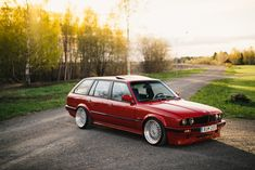 BMW 3 Touring in Calypso red color and classic BBS wheels. Bmw E30 325, Bmw M1, Aston Martin, My Dream Car, Dream Cars, Subaru, Volvo, Counting Cars, Cars