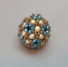 Pimp my Sphere/ Pendant kit  matte gold/ turquoise by mariposa8000, $17.00