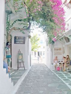 Dreaming of a Mediterranean breakfast on this quiet lane in Mykonos, Greece. Places Around The World, The Places Youll Go, Travel Around The World, Cool Places To Visit, Places To Travel, Places To Go, Around The Worlds, Travel Destinations, Greece Vacation