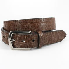 Blue Lion Men s Apparel  Italian Vintage Laser Etched Harness Brown 38mm  Belt 0bfb90ee755