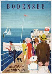 Bodensee travel poster by Hans Schoellhorn