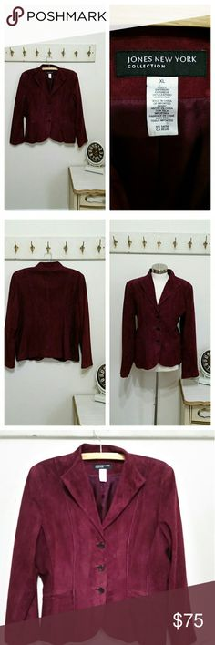 Jones New York Genuine Suede Blazer, Burgundy, L Gorgeous like new genuine suede blazer Jones New York label, size large Fits like 12/14 Beutiful rich burgundy color Fully lined Buttons at front Jones New York Jackets & Coats