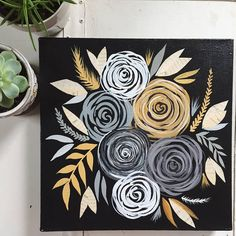 Items similar to Original Flower Painting// Paint Torn Paper Collage // Original Collage & Painting // Black, Gold, Yellow Flowers // 12 x 12 Inch Painting on Etsy Cute Canvas Paintings, Diy Canvas Art, Acrylic Painting Canvas, Fabric Painting, Diy Painting, Painting & Drawing, Easy Flower Painting, Torn Paper, Painting Inspiration