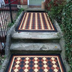 Victorian Path - Victorian Tiles Bathroom Floor Tiles, Tile Floor, Victorian Mosaic Tile, Tiled Staircase, Victorian House Plans, Geometric Tiles, Front Steps, Outdoor Flooring, Glass Design