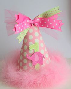 Pink and green party hat
