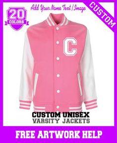girls toddlers pink personalised varsity jacket sweatshirt custom print