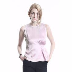 COLE COOL Women's Rose Quartz Asymmetric Pleated Triacetate Tank Top #COLECOOL #CropTop #Casual