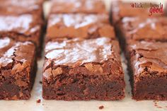 The Perfect Brownie: described as chewy on the edges, a little fudgy in the middle, with a shiny crackly top. I must try this! Will add nuts however.~Kalani~