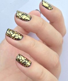 Most Beautiful Golden Stained Glass Nail Art
