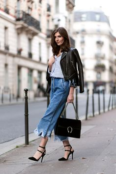 Denim Culottes and Fringed Leather Jacket - Simple et Chic - Fashion & Lifestyle BlogSimple et Chic – Fashion & Lifestyle Blog