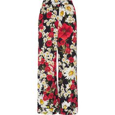 Dolce & Gabbana Floral-print silk-blend crepe wide-leg pants ($1,245) ❤ liked on Polyvore featuring pants, red, colorful wide leg pants, floral-print pants, pull on pants, vintage wide leg pants and red trousers