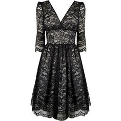 Pearl Lowe Peggy Lace Prom Dress ($23) ❤ liked on Polyvore featuring dresses, lace, salewomensview all sale, women's clothing, cocktail prom dress, prom dresses, black v neck dress, black prom dresses and 3/4 sleeve black dress