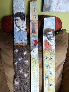 Lia Belle original tall girl portrait painting on wood Maud Starr. $78.99, via Etsy.