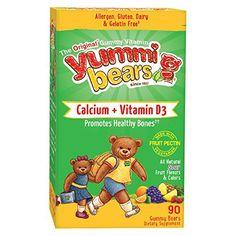 Yummi Bears Vegetarian Calcium + Vitamin D3 Supplement for Kids, 90 Gummy Bears //Price: $11.25 & FREE Shipping //     #hashtag1