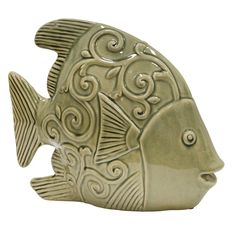 Ceramic Fish Decor Gray Green - Sagebrook Home some coastal colors into your decor with this figure. Constructed from high-quality ceramic with a body finish, this figurine features a solid color that will add depth and coastal tone Clay Fish, Ceramic Fish, Ceramic Wall Art, Pottery Animals, Ceramic Animals, Cement Art, Fish Wall Decor, Fish Sculpture, Fisher
