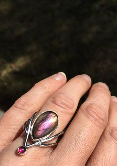 Elvish ring purple labradorite ring with garnet size 6 ring
