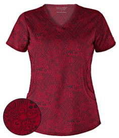 Advantage STRETCH by Butter-Soft™ Pretty Patches Ravishing Ruby Scrub Top Pretty perfectly sums up this rounded v-neck scrub top. Red Scrubs, Cute Scrubs, Uniform Advantage, Medical Scrubs, Scrub Tops, Shades Of Red, Shop Now, Patches, Stylish