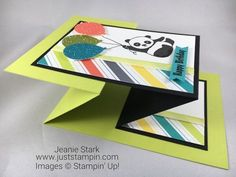Stampin Up Party Pandas Double Z Fun Fold birthday card idea with Glimmer Paper and Bubbles & Fizz DSP - Jeanie Stark StampinUp Z Cards, Step Cards, Fun Fold Cards, Pop Up Cards, Folded Cards, Kids Cards, Cool Cards, Stampin Up Cards, Greeting Cards