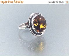 BLACK FRIDAY 35% Off Vintage Hallmarked Sterling Amber Green Amber Ring Silver ring with natural amber cabachon. Multi tonal amber sterling