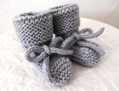Soft Gray Hand Knit Merino Wool Booties with Ties 6-12 Months. $23.00, via Etsy.