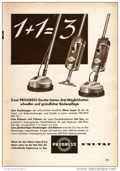 Original-Werbung/ Anzeige 1956 - PROGRESS STAUBSAUGER - ca. 120 x 170 mm