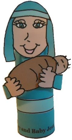 Mary and Baby Jesus toilet paper roll craft for kids.
