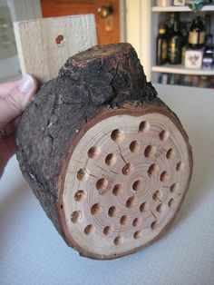 How to create your own Bee Block:      Ask your local timber yard to cut you a foot long 4×4 piece of wood. A log or piece of driftwood looks pretty cool.     Drill lots of 5/16 inch holes     Drill one in the back to hang in a sunny spot. Ideally the best location is on the South or East side, where the sun will wake them up each day.