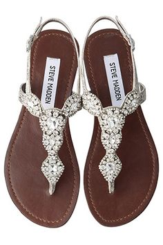 "Steve madden sandals :: - Being 5'8"", I generally try to avoid wearing high heels. Unfortunately for me, it seems any cute shoes I find have at least a 3"" heel and I'm not down with that. These are pretty cute, though (for flats) and the sparkles are a definite plus."
