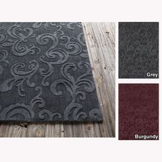Artist's Loom Hand-tufted Transitional Floral Wool Rug (5'x7') (Burgundy), Red, Size 5' x 7'