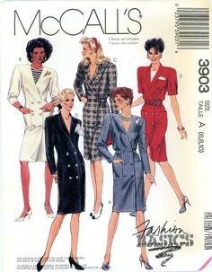 Vintage Sewing Pattern - 1988 Misses Dress, McCall's 3903 Sizes 6-10 Bust 30 1/2-32 1/2
