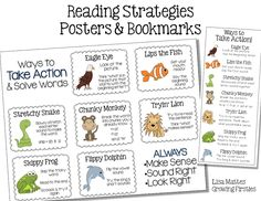 Reading Strategy Freebie Posters & Bookmarks Chunky Monkey Lips the Fish Stretchy Snake Tryin' Lion Flippy Frog Skippy Dolphin