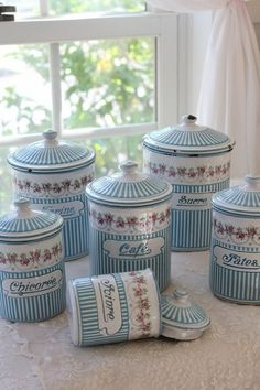 French Antique Enamelware Cannisters