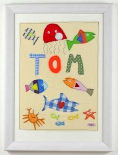 £50 Original Sarah Howell textile design boys personalised nursery art - made to order, framed in white, nordic style frame #nurserywallart #personalisednurserywallart #nurserydecor
