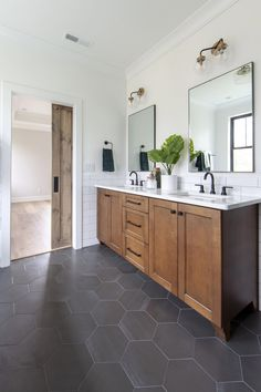 Home Interior Living Room .Home Interior Living Room Bathroom Renos, Bathroom Interior, Barn Bathroom, Black Bathroom Floor, Vanity Bathroom, Wood Vanity, Bathroom Ideas, Dark Tiled Bathroom, Black And White Master Bathroom
