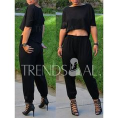 Casual Round Neck Black Half Sleeve Crop Top and Pants Twinset For Women