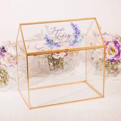 SKRZYNKA na telegramy transparentna Złote Brzegi personalizowana Kolekcja Lawenda Decorative Boxes, Decorative Storage Boxes
