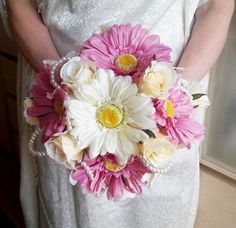 Silk and satin flowers wedding BOUQUET dusky pink ivory creme pearls, satin Handle, cotton lace - pinned by pin4etsy.com