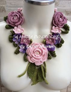 THE MAGIC OF CROCHET - Katia Missau: Crochet Necklace with flowers - Necklace Artemys