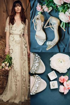 Chic Vintage Wedding Inspiration: gold flower embroidery soft sheath Jenny Packham Faith dress, paired with Bella Belle Filipa crystal band champagne heels and vintage halo eternal ring. Photography: Marie Claire Photography.
