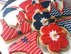 July 4th Pool Party Themed Decorated Cookies- Perfect for a nautical sailor themed party. $42.00, via Etsy.
