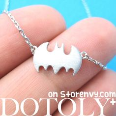 Batman Logo Bat Symbol Silhouette Charm Necklace in Sterling Silver from Dotoly Plus $10 #batman #jewelry #comics #necklace #charm