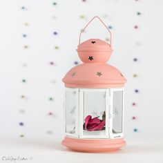 Baby Girl-Baptism First Communion Confirmation Decorations-Baby Shower Decorations-Nursery Decor-Peach Lantern-Metal Lanterns