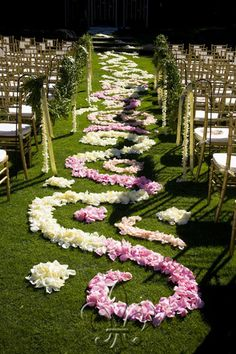 wedding aisle in flower petals