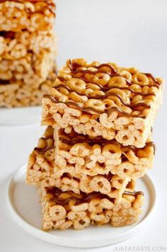 Peanut Butter Cheerios Marshmallow TreatsReally nice recipes.  Mein Blog: Alles rund um die Themen Genuss & Geschmack  Kochen Backen Braten Vorspeisen Hauptgerichte und Desserts # Hashtag