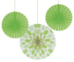 Lime Paper Fans with polkadots and made with sturdy cardstock.