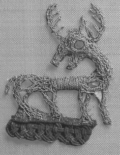"""In the finds at Birka, there are a variety of ornaments made of gold or silver wire on clothing...(one) type of decoration uses long flexible coils of very fine wire around a fiber core. The coils are braided and sewed down to make borders that look like knotwork. You can just see a bit of such a border (very tarnished) under the feet of the gold wire """"deer"""" from Birka shown here."""