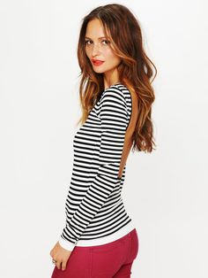 Striped Low Back Top...