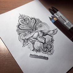 Fox. Tattoo design by Vika Naumova.