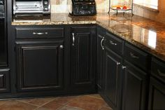 Black Distressed Kitchen Cabinets | Artisan Studios Cabinets | DIY